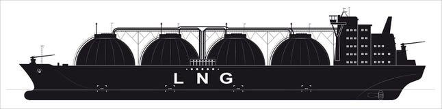 Черный силуэт огромного топливозаправщика океана для сжиженного газа Прослеженные детали Взгляд со стороны Стоковые Изображения