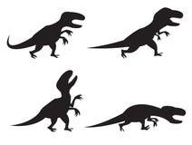 Черный силуэт T-rex и велоцираптора Стоковая Фотография RF