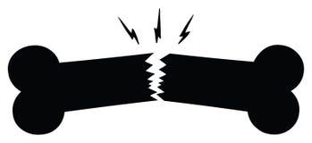 Черный сломленный дизайн чертежа мультфильма силуэта косточки стоковая фотография rf