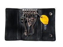 черный случай пользуется ключом кожа Стоковые Фотографии RF