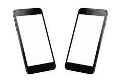 Черный современный умный изолированный телефон 2 равновеликих положения стоковые фото