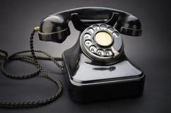 черный старый телефон Стоковое Изображение
