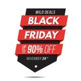 Черный стикер шаблона значка знамени продажи ценника ярлыка пятницы Стоковое Изображение