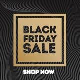Черный стиль золота знамени продажи пятницы на линии предпосылке градиента Стоковая Фотография