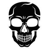Черный стилизованный череп изолированный на белой предпосылке Стиль плана Tatoo Современная печать Расцветка для взрослых Стоковая Фотография RF