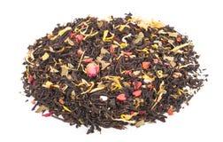 Черный сухой чай с плодоовощами и лепестками Стоковое Изображение
