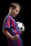 черный счастливый футбол малыша стоковые изображения