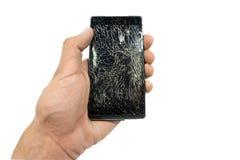 Черный сломанный телефон стоковое изображение rf