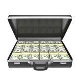Черный случай с деньгами иллюстрация вектора