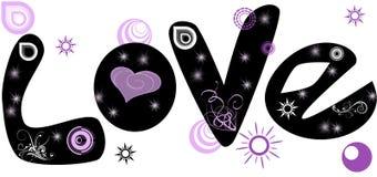 Черный текст влюбленности Стоковое Изображение