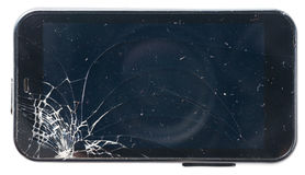 Черный телефон с сломленным экраном Стоковое Фото