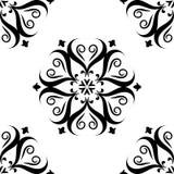 Черный флористический безшовный дизайн на белой предпосылке Стоковое Фото