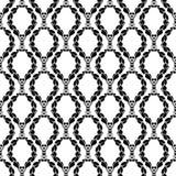 Черный флористический безшовный дизайн на белой предпосылке Стоковые Изображения RF