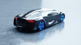 Черный футуристический электрический автомобиль с голубым светом Концепция будущего Реалистическая анимация 4K сток-видео