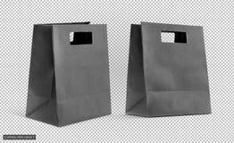Черный ходя по магазинам бумажный мешок изолированный на виртуальной решетке прозрачности стоковые фото