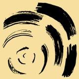 Черный ход щетки в форме круга Чертеж созданный в методе эскиза чернил handmade белизна изолированная предпосылкой Стоковые Фотографии RF