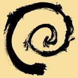 Черный ход щетки в форме круга Чертеж созданный в методе эскиза чернил handmade белизна изолированная предпосылкой Стоковая Фотография