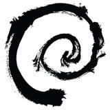 Черный ход щетки в форме круга Чертеж созданный в методе эскиза чернил handmade белизна изолированная предпосылкой Стоковые Изображения RF
