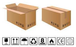 Черный хрупкий комплект символа с комплексным конструированием коричневого картона Стоковое Изображение RF