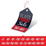 Черный ценник продажи пятницы Стоковое Изображение RF