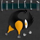 Черный цыпленок на 2 ногах, и взбитые яйца внутренности бесплатная иллюстрация
