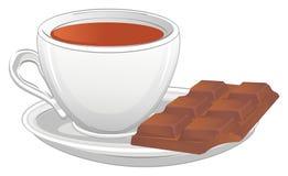 Черный чай и шоколад иллюстрация вектора