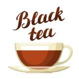 черный чай Иллюстрация при написанные чашка чаю и рука помечающ буквами текст Стоковое Фото