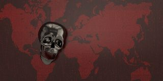 Черный череп на красной цифровой карте мира иллюстрация 3d иллюстрация вектора