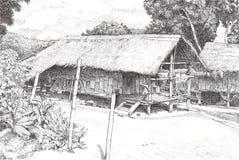Черный чертеж ручки деревянных хижин стоковое фото