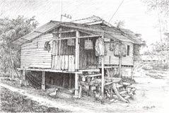 Черный чертеж ручки деревянных хижин стоковая фотография