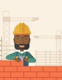 Черный человек построителя строит кирпичную стену иллюстрация вектора