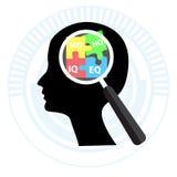 Черный человеческий думать с увеличивая концепцией IQ, EQ, MQ, HG, слово Стоковое фото RF