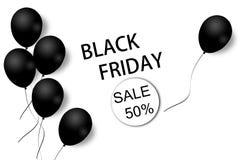 Черный шаблон предпосылки продажи пятницы Белая предпосылка с черными воздушными шарами для сезонного предложения скидки иллюстра иллюстрация вектора