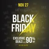 Черный шаблон плаката Exlosion вектора продажи пятницы Стоковое Изображение
