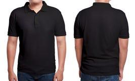 черный шаблон рубашки поло конструкции Стоковое Изображение RF