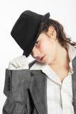 черный шлем девушки Стоковая Фотография