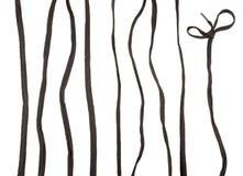 Черный шнурок на белой предпосылке Стоковые Изображения RF