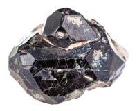 Черный шпинелевый минеральный камень самоцвета на diopside кристаллах Стоковые Изображения RF
