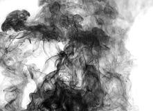 Черный дым на белой предпосылке Стоковое Изображение RF