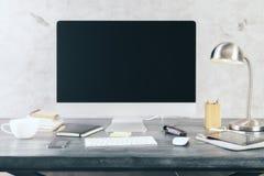 Черный экран компьютера Стоковое Изображение
