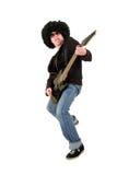 черный электрический гитарист гитары играя детенышей Стоковая Фотография RF