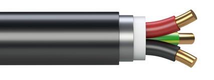 Черный электрический кабель - взгляд сверху Стоковая Фотография RF