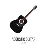 Черный элемент изолята вектора акустической гитары Стоковое Изображение