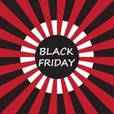 Черный ярлык продажи пятницы на предпосылке sunburst Стоковое Изображение