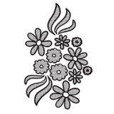 Черный applique цветка шнурка Стоковая Фотография