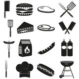 Черный bbq белизны outdoors комплект силуэта 16 элементов иллюстрация штока