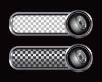 черный checkered серебр нашивает автошины Стоковые Изображения