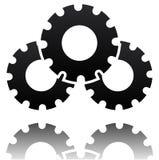 Черный gearwheel, символ шестерни Обслуживание, ремонт, установки бесплатная иллюстрация