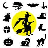 черный halloween silhouettes белизна Стоковые Фото