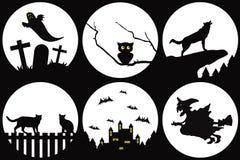 черный halloween silhouettes белизна Стоковое фото RF